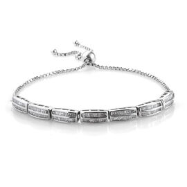 Diamond (Bgt) Bracelet (Size 6.5 - 9.5 Adjustable) in Platinum Overlay Sterling Silver 1.010 Ct, Silver wt 8.00 Gms,