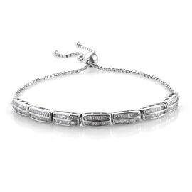 Diamond (Bgt) Bracelet (Size 6.5 - 10 Adjustable) in Platinum Overlay Sterling Silver 1.010 Ct, Silv