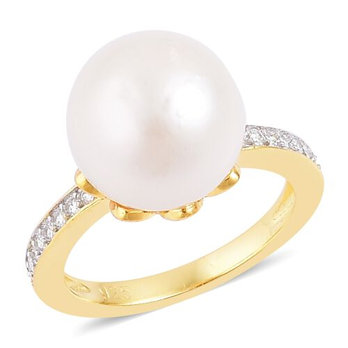 South Sea White Pearl (11-12 mm) and Natural White Cambodian Zircon Ring in Gold Plated Silver