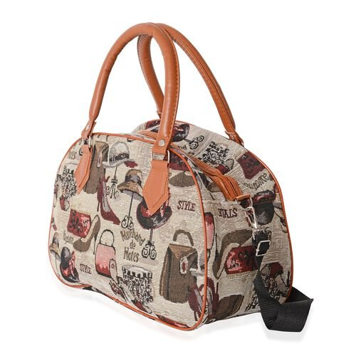 Lady Hats, Bags and Shoes Pattern Tote Bag with Removable Shoulder Strap (Size 35x23x13.5 Cm)