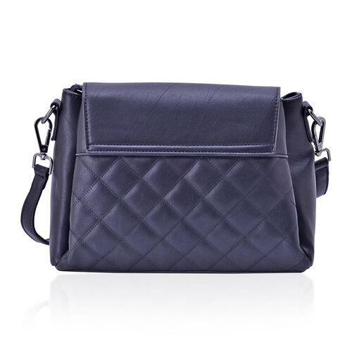 Designer Inspired LuLu Black Diamond Cut Pattern Handbag With Adjustable and Removable Shoulder Strap (Size 27.5x21x12 Cm)