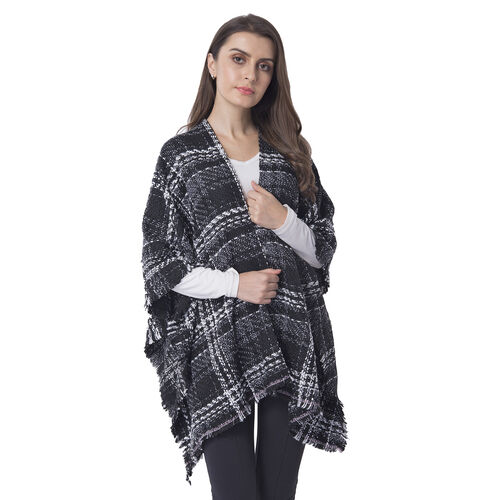 One Time Close Out Deal- Black Colour Checkers Pattern Shawl Size 74X105 cm