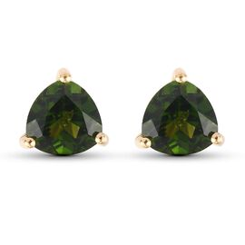 Russian Diopside Solitaire Stud Push Post Earring in 14K Gold Overlay Sterling Silver 1.45 ct  1.450