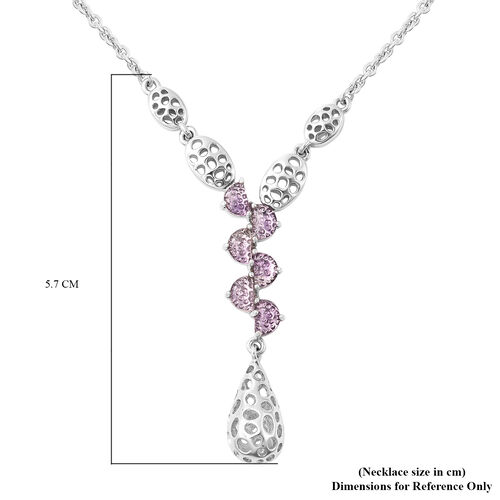 RACHEL GALLEY Amethyst Lattice Drop Necklace (Size 20) in Rhodium Overlay Sterling Silver 1.68 Ct, Silver wt 11.25 Gms