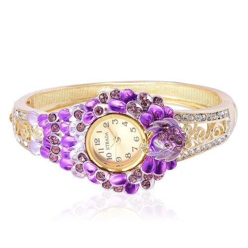 STRADA Japanese Movement Purple and White Austrian Crystal Oil Painted Peacock and Floral Design Bangle Watch in Yellow Gold Tone