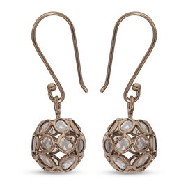 Artisan Crafted Champagne Polki Diamond Dangle Hook Earrings (with Push Back) in Rose Gold Overlay S
