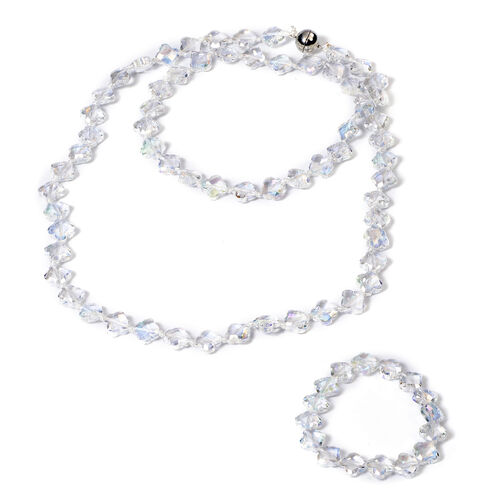 2 Piece Set -  Simulated AB Crystal Necklace (Size 35 with Magnetic Lock) and Bracelet (Size 6.5) in