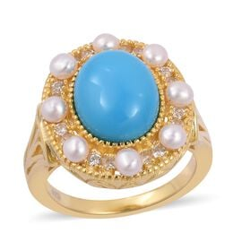 Arizona Sleeping Beauty Turquoise (Ovl 2.50 Ct), Freshwater Pearl and Natural White Cambodian Zircon Ring in Yellow Gold Overlay Sterling Silver 3.900 Ct. Silver wt 5.40 Gms.