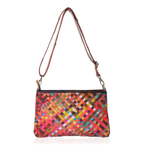 (Option 1) Designer Inspired- 100% Genuine Leather Multi Colour Stripes Hand Woven Crossbody Bag with Adjustable and Removable Shoulder Strap (Size 30X19.5X4.5 Cm)