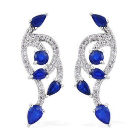 3.5 Ct Blue Spinel and Cambodian Zircon Drop Earrings in Platinum Plated Sterling Silver 4.54 Grams
