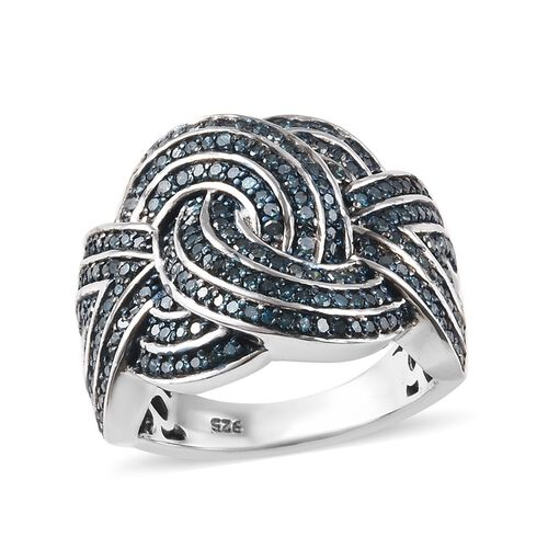 1 Carat Blue Diamond Knot Ring in Platinum Plated Sterling Silver 7.81 Grams