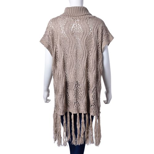Winter Special - Light Coffee Colour Wavy Pattern Knitted High Neck Poncho with Tassels (Size 70x60 Cm)