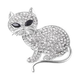 White Austrian Crystal and Simulated Spinel Cat Brooch in Silver Tone