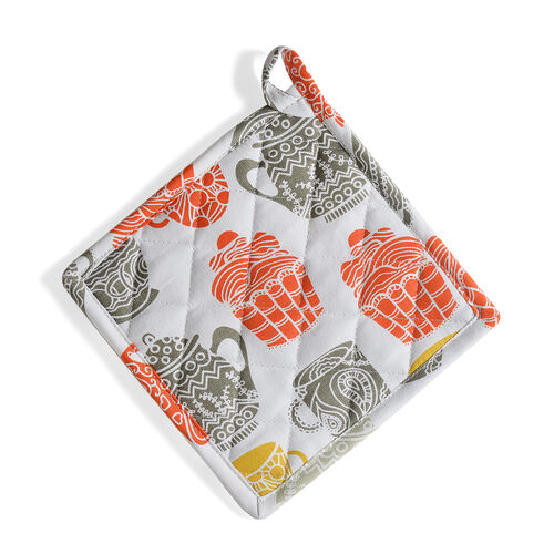 Kitchen Textiles White, Grey, Green and Yellow Colour Tea Pot and Glass Printed Apron (Size 75x65 Cm), Glove (32x18 Cm), Pot Holder (Size 20x20 Cm), Kitchen Towel (65x40 Cm) and Bag (45x35 Cm)