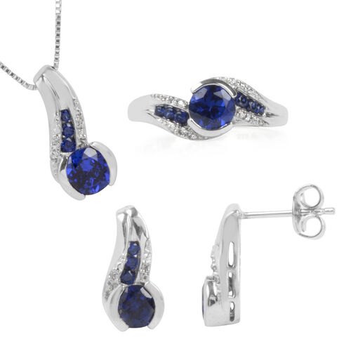 Simulated Blue Sapphire and Simulated White Sapphire Ring, Pendant and Earrings (with Push Back) in Rhodium Plated Sterling Silver, Silver wt 6.70 Gms.
