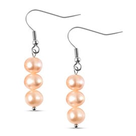 Peach Freshwater Pearl  Earring Pure White Stainless Steel 19.50 Ct