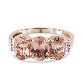 2.17 Ct Moroppino Morganite and White Diamond Ring in 9K Rose Gold 1.62 Gms