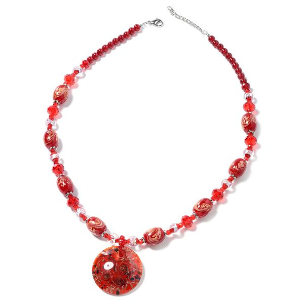 Red Murano Style Glass and Simulated Ruby Beaded Necklace in Silver Plated 28 with 3 inch Extender