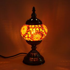 Handmade Turkish Mosaic Glass Table Lamp with Bronze Base (Size 30x11.5 Cm) - Orange and Red