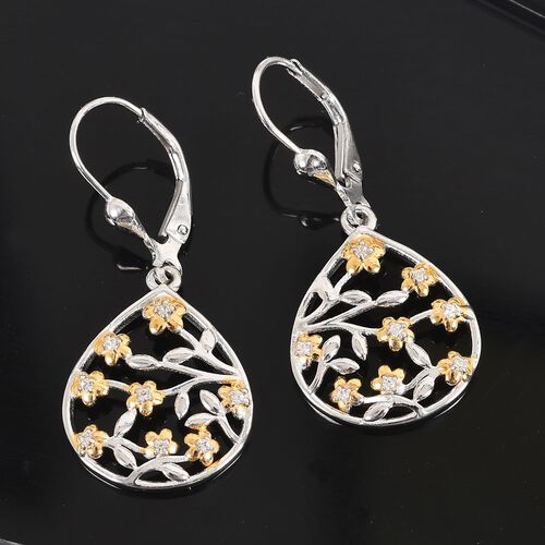 J Francis - Platinum and Yellow Gold Overlay Sterling Silver Floral Drop Lever Back Earrings Made with SWAROVSKI ZIRCONIA