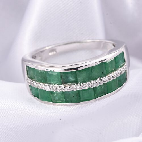 Limited Edition- AAA Kagem Zambian Emerald (Princess Cut), Natural Cambodian Zircon Ring in Platinum Overlay Sterling Silver 3.250 Ct.