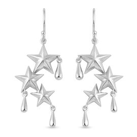 LucyQ 3D Star Drip Collection- Rhodium Overlay Sterling Silver Hook Earrings