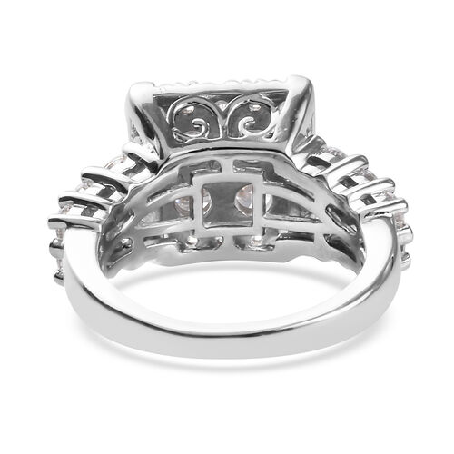 J Francis Platinum Overlay Sterling Silver Ring made with SWAROVSKI ZIRCONIA 3.92 Ct.