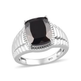 3.50 Ct Shungite Solitaire Ring in Platinum Plated Sterling Silver