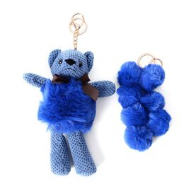 2 Piece Set - Golden Key Chain with Soft Teddy Bear and 7 Balls - Blue Colour