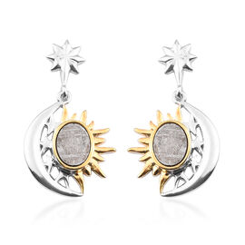 Meteorite Celestial Earrings (with Push Back) in Yellow Gold and Platinum Overlay Sterling Silver 6.
