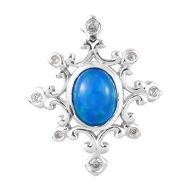 Miami Blue Welo Opal and Natural Cambodian Zircon Pendant  in Platinum Overlay Sterling Silver 1.25