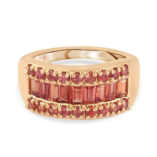 Red Sapphire Band Ring in 14K Gold Overlay Sterling Silver 2.00 Ct.