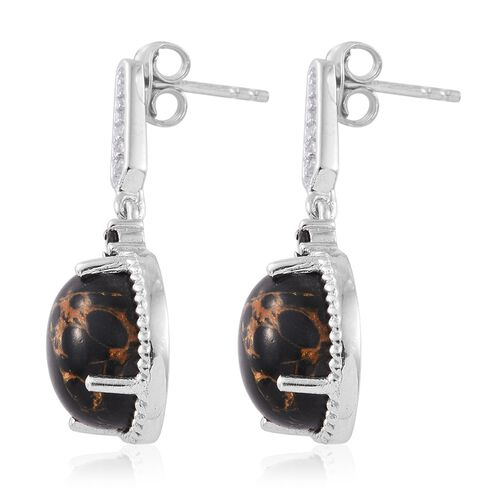 Arizona Mojave Black Turquoise (Ovl), Natural Cambodian Zircon and Boi Ploi Black Spinel Earrings (with Push Back) in Platinum Overlay Sterling Silver 9.500 Ct.