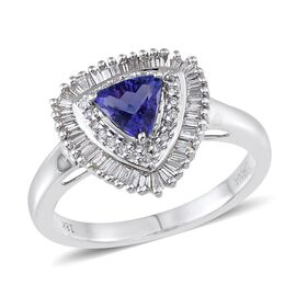 ILIANA 18K W Gold Tanzanite (Trl 0.75 Ct), Diamond Ring 1.150 Ct.