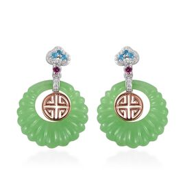 32.50 Ct Green Jade and Multi Gemstone Drop Earrings in Rhodium and Rose Gold Plated Silver