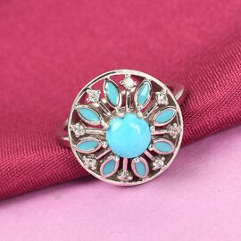 Arizona Sleeping Beauty Turquoise and Natural Cambodian Zircon Enamelled Ring in Platinum Overlay Sterling Silver 1.00 Ct.
