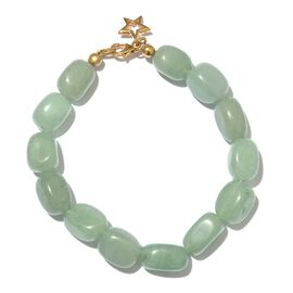 Green Aventurine Bracelet (Size 7.5) with Lobster Lock and Star Charm in 14K Gold Overlay Sterling Silver 106.690 Ct.