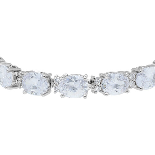 One Time Deal- Simulated Diamond (Ovl and Rnd) Bracelet (Size 7 with 1 inch Extender) in Silver Plated