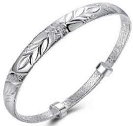 Designer Inspired-Bangle (Size 7.5) in Silver Tone