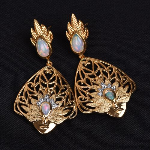 Ethiopian Welo Opal and Natural Cambodian Zircon Earrings (with Push Back) in 14K Gold and Rhodium Overlay Sterling Silver 1.50 Ct.