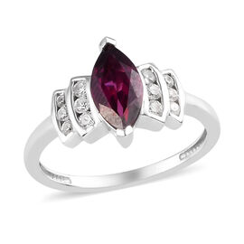 Rhodolite Garnet and Natural Cambodian Zircon Ring in Platinum Overlay Sterling Silver 1.50 Ct.