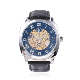 GENOA Automatic Skeleton Water Resistant Watch with Black Hollow-out Dial and Leather Strap