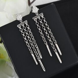 Moissanite Dangling Earrings (with Push Back) in Platinum Overlay Sterling Silver