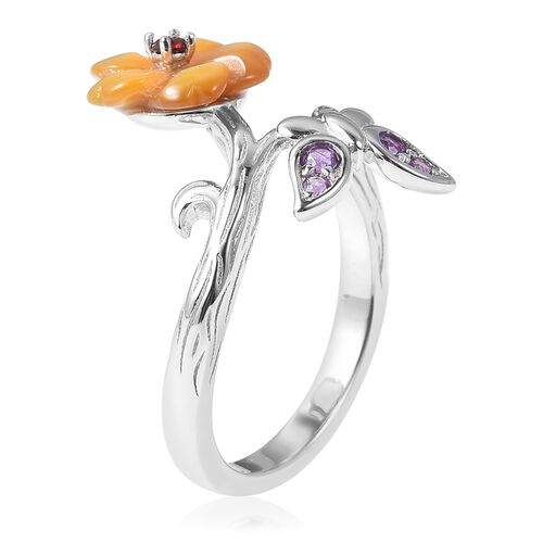 Jardin Collection - Yellow Mother of Pearl, Amethyst and Mozambique Garnet Floral and Butterfly Bypass Ring in Rhodium Overlay Sterling Silver 1.41 Ct.
