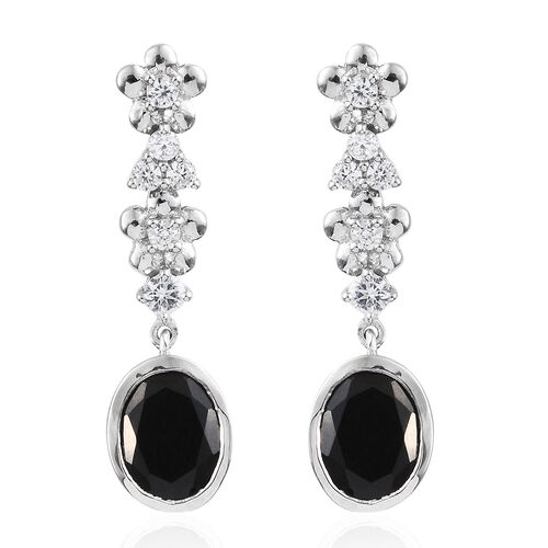 Black Tourmaline (Ovl), Natural Cambodian Zircon Earrings (with Push Back) in Platinum Overlay Sterl