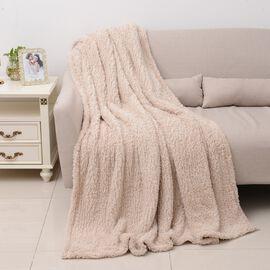 Super Soft Teddy Bear Plush Double Sided Sherpa Blanket - Beige  (Size 150x200Cm)
