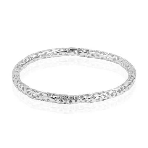 RACHEL GALLEY Rhodium Plated Sterling Silver Allegro Bangle (Size 7.75), Silver wt 17.22 Gms.