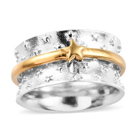Platinum and Yellow Gold Overlay Sterling Silver Star Band Ring, Silver wt 7.70 Gms