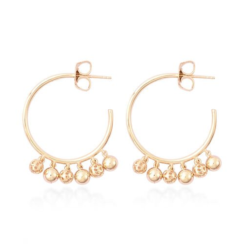 RACHEL GALLEY Bold Lattice Collection - Yellow Gold Overlay Sterling Silver Dangling Lattice Ball Earrings (with Push Back), Silver wt. 8.66 Gms
