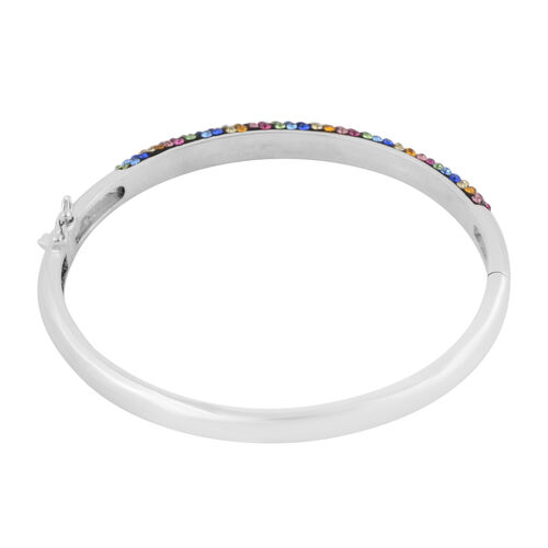 Multi Colour Austrian Crystal Bangle (Size 7) in Silver Plated